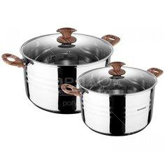 Набор посуды из нержавеющей стали Bergner Granito 9745MM-BG (кастрюли 1.6+2.3 л), 2 предмета
