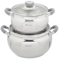 Набор посуды из нержавеющей стали Daniks Модерн SD-4N (кастрюли 4+6.5 л), 2 предмета, серый