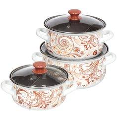 Набор эмалированной посуды Керченский металлургический завод Нежный шорох-1-Экстра (кастрюля 2+3+4 л), 3 предмета
