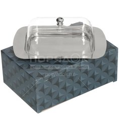 Масленка из нержавеющей стали с пластиковой крышкой, 18.7х12.2х7 см