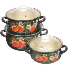 Набор эмалированной посуды Керченский металлургический завод Абрикос-Экстра (кастрюля 2+3+4 л), 3 предмета