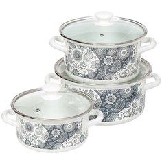 Набор эмалированной посуды Керченский металлургический завод День и ночь-1 Экстра, (кастрюля 2+3+4 л), 3 предмета