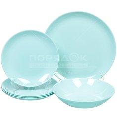 Сервиз столовый из стекла, 18 предметов, Diwali Light Turquoise P2963 Luminarc