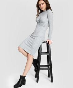Трикотажное платье в рубчик с люрексом O`Stin