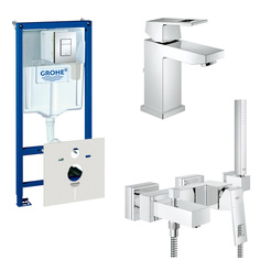 Готовый комплект для ванной комнаты GROHE Eurocube: набор смесителей, душевой гарнитур и система инсталляции (124185)