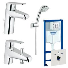Готовый комплект для ванной комнаты GROHE Eurostyle Cosmopolitan: набор смесителей, душевой набор и система инсталляции (124186)
