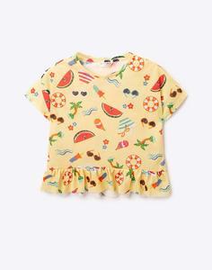 Жёлтая футболка с рисунками для девочки Gloria Jeans