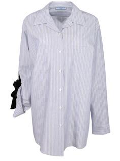 Хлопковая рубашка с деталью P477C 1RZS F0I47 Prada