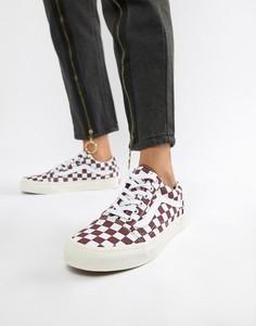 Бордовые кроссовки с узором в шахматную клетку Vans Old Skool-Красный