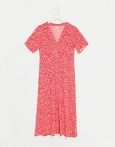 Красное платье миди на пуговицах с цветочным принтом Monki-Красный