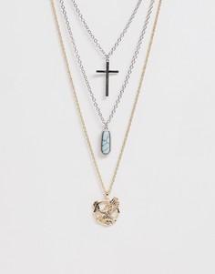 Серебристое ожерелье из нескольких цепочек Sacred Hawk-Серебряный