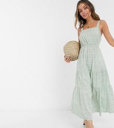 Зеленое ярусное платье макси с цветочным принтомVero Moda Petite-Мульти