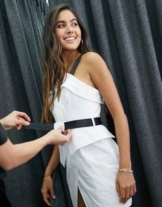 Платье мини с отворотами и поясом в стиле милитари ASOS DESIGN-Мульти