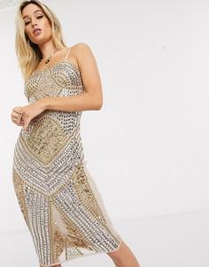 Золотистое платье мини с вырезом бандо Starlet-Золотой