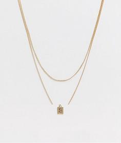 Золотистое ожерелье в два ряда с подвеской-монетой ASOS DESIGN-Золотой