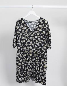 Черное oversized-платье на пуговицах с цветочным принтом Monki-Черный