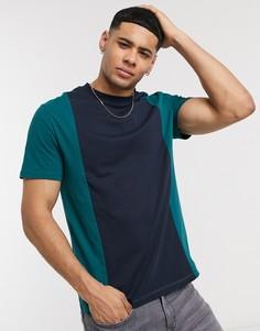 Темно-зеленая футболка со вставками ASOS DESIGN-Зеленый