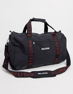 Черная сумка с логотипом на ремне Religion-Черный