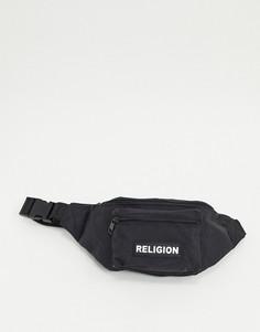 Черная сумка-кошелек на пояс Religion-Черный