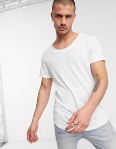 Белая длинная футболка с асимметричным краем и овальным вырезом ASOS DESIGN-Белый