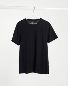 Черная меланжевая футболка из органического хлопкаBurton Menswear-Черный