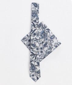 Набор из узкого галстука и платка для нагрудного кармана с принтом пейсли ASOS DESIGN-Синий