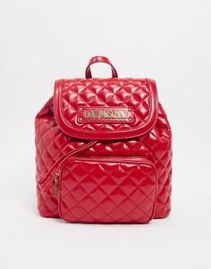 Красный стеганый рюкзак с карманом Love Moschino