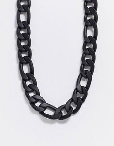 Черное массивное ожерелье-цепочкаChained & Able-Черный