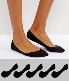 Набор из 5 пар черных невидимых носков с нескользящей лентой ASOS DESIGN-Черный