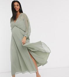 Платье макси из жатого шифона с вышивкой ASOS DESIGN Maternity-Мульти
