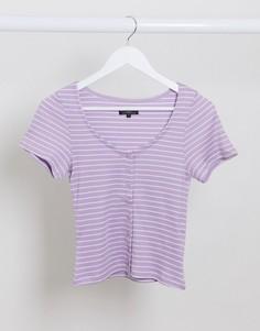 Лавандовая футболка в полоску на пуговицах с овальным вырезом Brave Soul-Фиолетовый