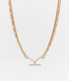 Золотистое ожерелье из двухцепочек с T-образнойпланкой ASOS DESIGN-Золотой