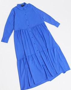 Ярко-синее платье-рубашка А-силуэтаMonki-Синий