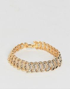Золотистый браслет-цепочка в винтажном стиле с массивными звеньями ASOS DESIGN-Золотой