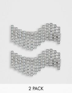 Серебристые волнообразные заколки для волос со стразами ASOS DESIGN - 2 шт.-Серебряный
