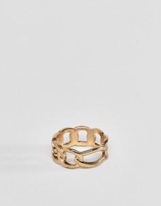 Золотистое кольцо с дизайном в виде цепочки WFTW-Золотой