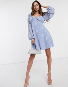 Голубое приталенное платье с цветочным принтом Missguided-Мульти