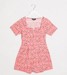 Ромпер с мелким цветочным принтом Wednesdays Girl-Розовый