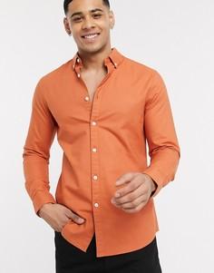 Оранжевая приталенная оксфордская рубашка Farah Brewer-Оранжевый