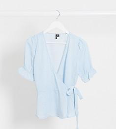 Голубая блузка с запахом и объемными рукавами Vero Moda Tall-Мульти
