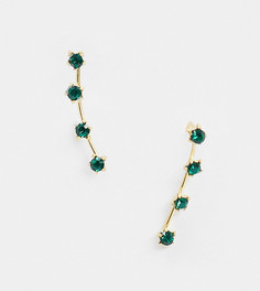 Серьги-клаймберы из позолоченного серебра с зелеными камнями Kingsley Ryan-Золотой