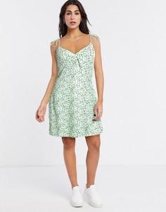 Зеленое свободное платье в горошек с завязками Noisy May-Зеленый