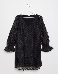 Свободное платье в горошек с рукавами клеш Vila-Черный