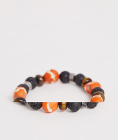 Браслет с полудрагоценными камнями Reclaimed Vintage inspried эксклюзивно для ASOS-Оранжевый