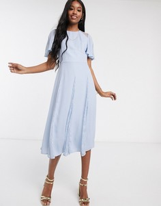 Голубое платье миди с кружевными вставками ASOS DESIGN-Синий