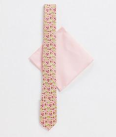 Набор из узкого галстука и платка для нагрудного кармана розового цвета с пестрым принтом ASOS DESIGN-Розовый