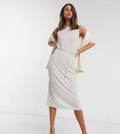 Кремовое платье миди в полоскуVero Moda Tall-Мульти