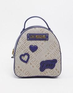 Темно-синий рюкзак с нашивками Love Moschino