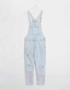 Голубой джинсовый комбинезон узкого кроя Bershka-Синий