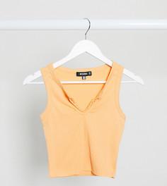 Персиковый кроп-топ от комплекта с треугольным разрезом Missguided-Оранжевый